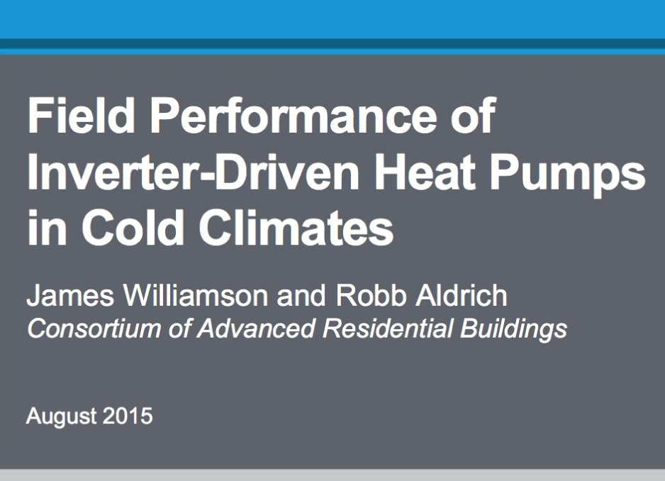 Report: Field Performance of Inverter-Driver Heat Pumps in Cold Climates